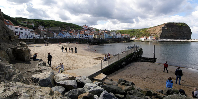 A long and steep walk takes you to Staithes Beach